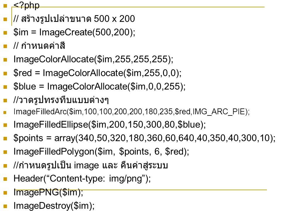 <?php // สร้างรูปเปล่าขนาด 500 x 200 $im = ImageCreate(500,200); // กำหนดค่าสี ImageColorAllocate($im,255,255,255); $red = ImageColorAllocate($im,255,0,0); $blue = ImageColorAllocate($im,0,0,255); // วาดรูปทรงทึบแบบต่างๆ ImageFilledArc($im,100,100,200,200,180,235,$red,IMG_ARC_PIE); ImageFilledEllipse($im,200,150,300,80,$blue); $points = array(340,50,320,180,360,60,640,40,350,40,300,10); ImageFilledPolygon($im, $points, 6, $red); // กำหนดรูปเป็น image และ คืนค่าสู่ระบบ Header( Content-type: img/png ); ImagePNG($im); ImageDestroy($im);