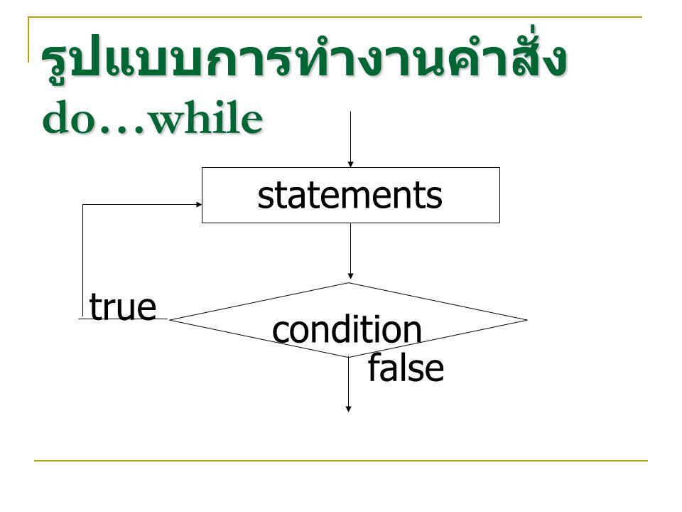 รูปแบบการทำงานคำสั่ง do…while statements condition true false