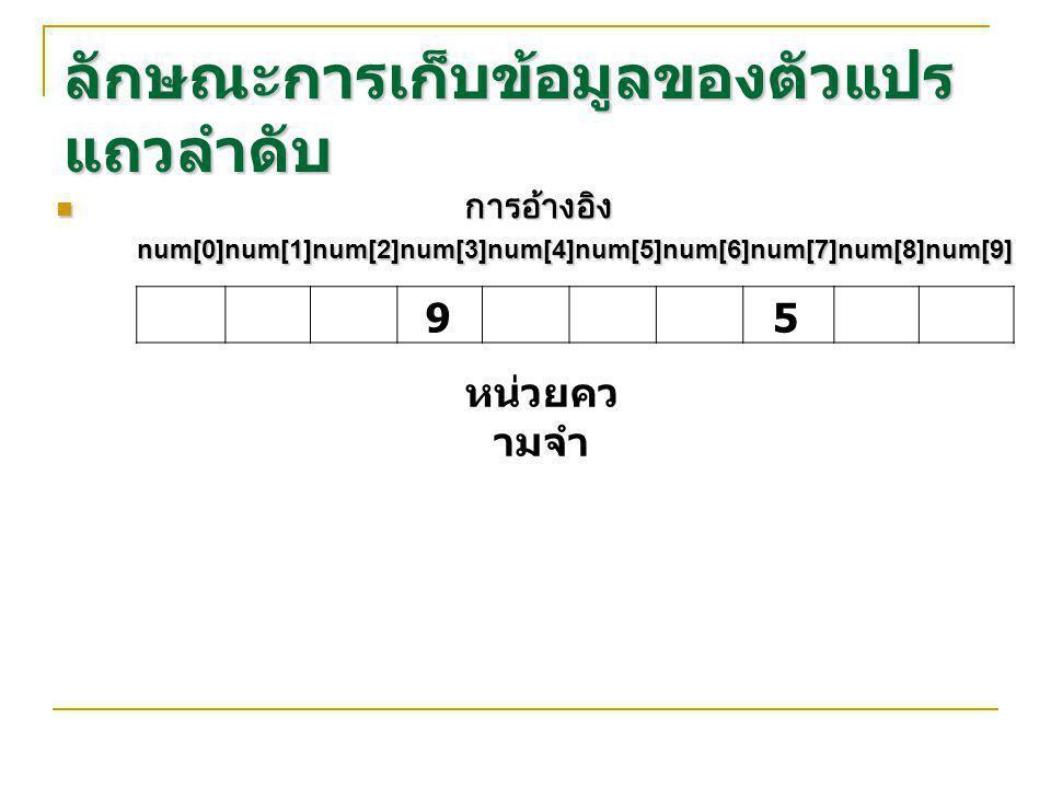 ลักษณะการเก็บข้อมูลของตัวแปร แถวลำดับ การอ้างอิง การอ้างอิง num[0]num[1]num[2]num[3]num[4]num[5]num[6]num[7]num[8]num[9] num[0]num[1]num[2]num[3]num[4]num[5]num[6]num[7]num[8]num[9] หน่วยคว ามจำ 95