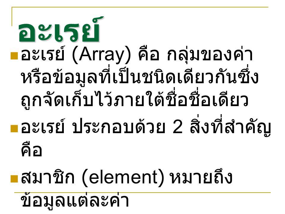 อะเรย์ อะเรย์ (Array) คือ กลุ่มของค่า หรือข้อมูลที่เป็นชนิดเดียวกันซึ่ง ถูกจัดเก็บไว้ภายใต้ชื่อชื่อเดียว อะเรย์ ประกอบด้วย 2 สิ่งที่สำคัญ คือ สมาชิก (element) หมายถึง ข้อมูลแต่ละค่า อินเด็กซ์ (index) หมายถึง ค่าที่ ใช้ระบุตำแหน่ง