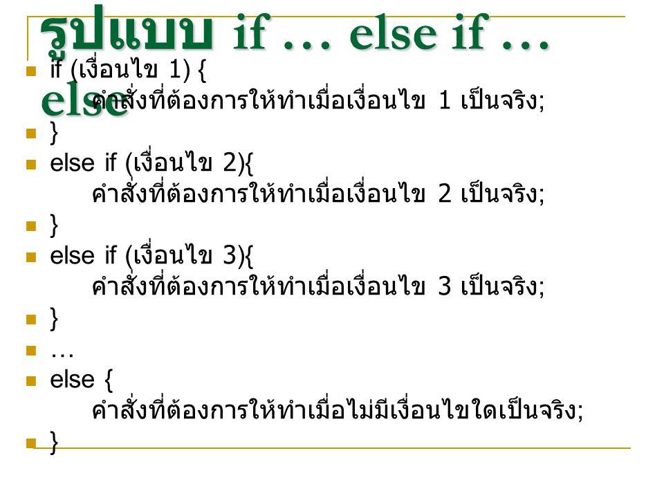 รูปแบบ if … else if … else if ( เงื่อนไข 1) { คำสั่งที่ต้องการให้ทำเมื่อเงื่อนไข 1 เป็นจริง ; } else if ( เงื่อนไข 2){ คำสั่งที่ต้องการให้ทำเมื่อเงื่อ