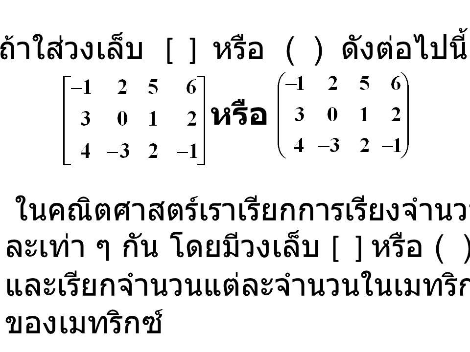 สัญลักษณ์ทั่ว ๆ ไปของเมทริกซ์ การเรียกชื่อเมทริกซ์ โดยปกติแล้วเราจะใช้อักษรภาษา อังกฤษตัวพิมพ์ใหญ่แทนที่ของเมทริกซ์ เช่น เรียก เมทริกซ์ A, เมทริกซ์ B เป็นต้น สมาชิกของเมทริกซ์ที่เรียงกันอยู่ตามแนวนอน เรียกว่า สมาชิกที่อยู่ในแถว (ROW) ของเมทริกซ์ เมทริกซ์แต่ละ เมทริกซ์จะมีกี่แถวก็ได้