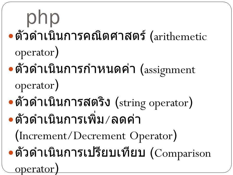 ตัวดำเนินการในภาษา php ตัวดำเนินการคณิตศาสตร์ (arithemetic operator) ตัวดำเนินการกำหนดค่า (assignment operator) ตัวดำเนินการสตริง (string operator) ตั