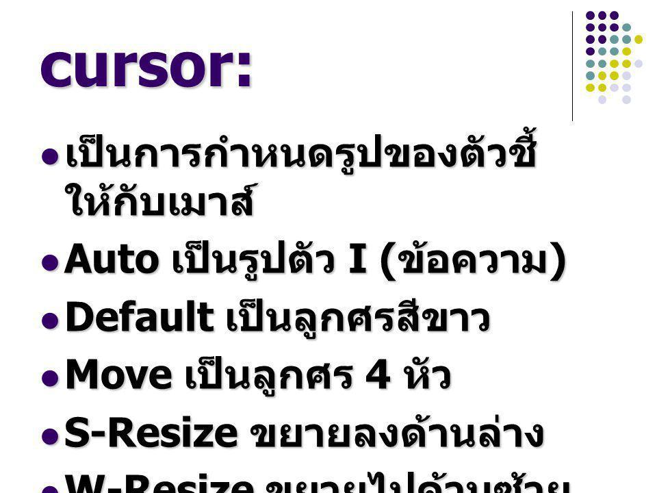 cursor: เป็นการกำหนดรูปของตัวชี้ ให้กับเมาส์ เป็นการกำหนดรูปของตัวชี้ ให้กับเมาส์ Auto เป็นรูปตัว I ( ข้อความ ) Auto เป็นรูปตัว I ( ข้อความ ) Default เป็นลูกศรสีขาว Default เป็นลูกศรสีขาว Move เป็นลูกศร 4 หัว Move เป็นลูกศร 4 หัว S-Resize ขยายลงด้านล่าง S-Resize ขยายลงด้านล่าง W-Resize ขยายไปด้านซ้าย W-Resize ขยายไปด้านซ้าย
