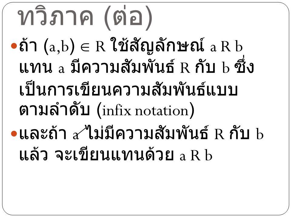 ความสัมพันธ์แบบ ทวิภาค ( ต่อ ) ถ้า (a,b)  R ใช้สัญลักษณ์ a R b แทน a มีความสัมพันธ์ R กับ b ซึ่ง เป็นการเขียนความสัมพันธ์แบบ ตามลำดับ (infix notation) และถ้า a ไม่มีความสัมพันธ์ R กับ b แล้ว จะเขียนแทนด้วย a R b