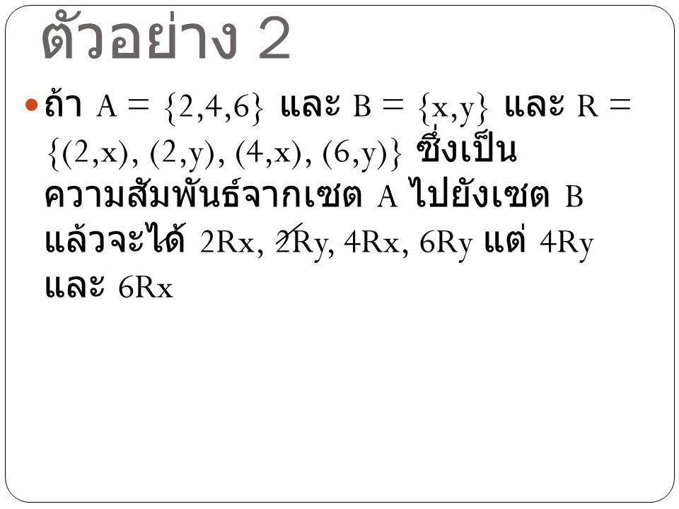 ตัวอย่าง 3 ให้ I เป็นเซตของจำนวนเต็ม เราสามารถ กำหนดความสัมพันธ์ < ( น้อยกว่า ) ระหว่างจำนวนเต็มได้ดังนี้ R = {(a,b) | (a,b)  I  I และ a น้อยกว่า b } ในที่นี้ ใช้สัญลักษณ์ R แทน ความสัมพันธ์น้อยกว่า นั่นคือ a < b จะ หมายถึง (a,b)  R หรือ (a,b) เป็นสมาชิก ของความสัมพันธ์ R
