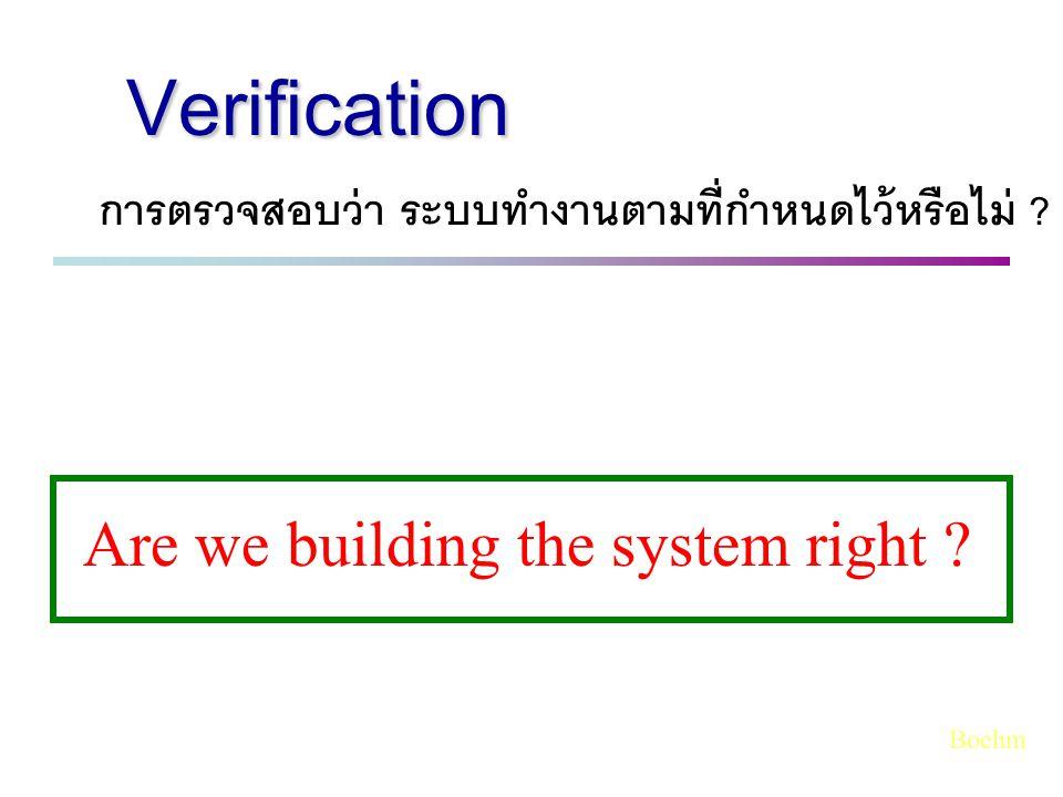 การตรวจสอบว่า ระบบทำงานตามที่กำหนดไว้หรือไม่ ? Are we building the system right ? Verification Boehm