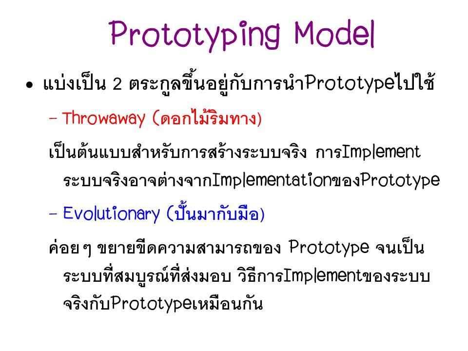 Prototyping Model แบ่งเป็น 2 ตระกูลขึ้นอยู่กับการนำ Prototype ไปใช้ – Throwaway ( ดอกไม้ริมทาง ) เป็นต้นแบบสำหรับการสร้างระบบจริง การ Implement ระบบจร