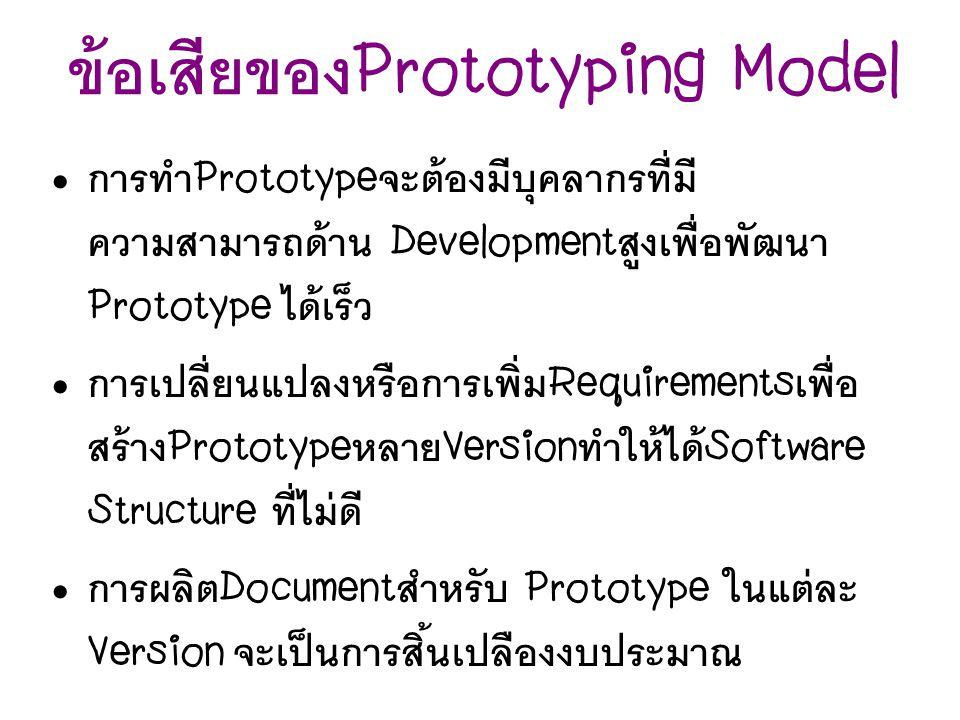การทำ Prototype จะต้องมีบุคลากรที่มี ความสามารถด้าน Development สูงเพื่อพัฒนา Prototype ได้เร็ว การเปลี่ยนแปลงหรือการเพิ่ม Requirements เพื่อ สร้าง Pr