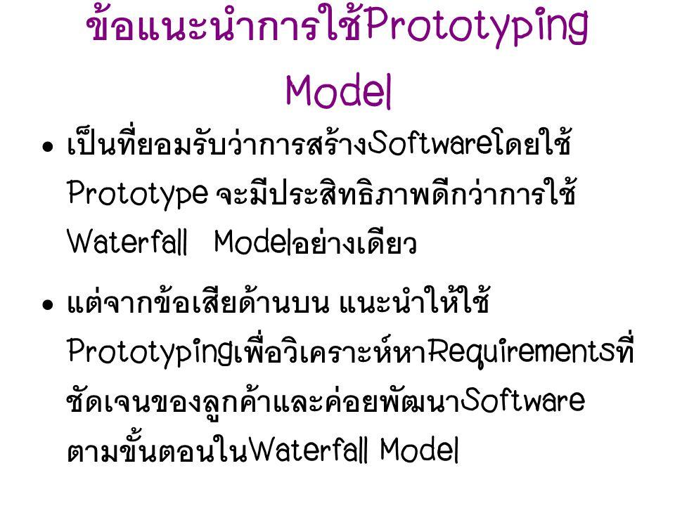 ข้อแนะนำการใช้ Prototyping Model เป็นที่ยอมรับว่าการสร้าง Software โดยใช้ Prototype จะมีประสิทธิภาพดีกว่าการใช้ Waterfall Model อย่างเดียว แต่จากข้อเส