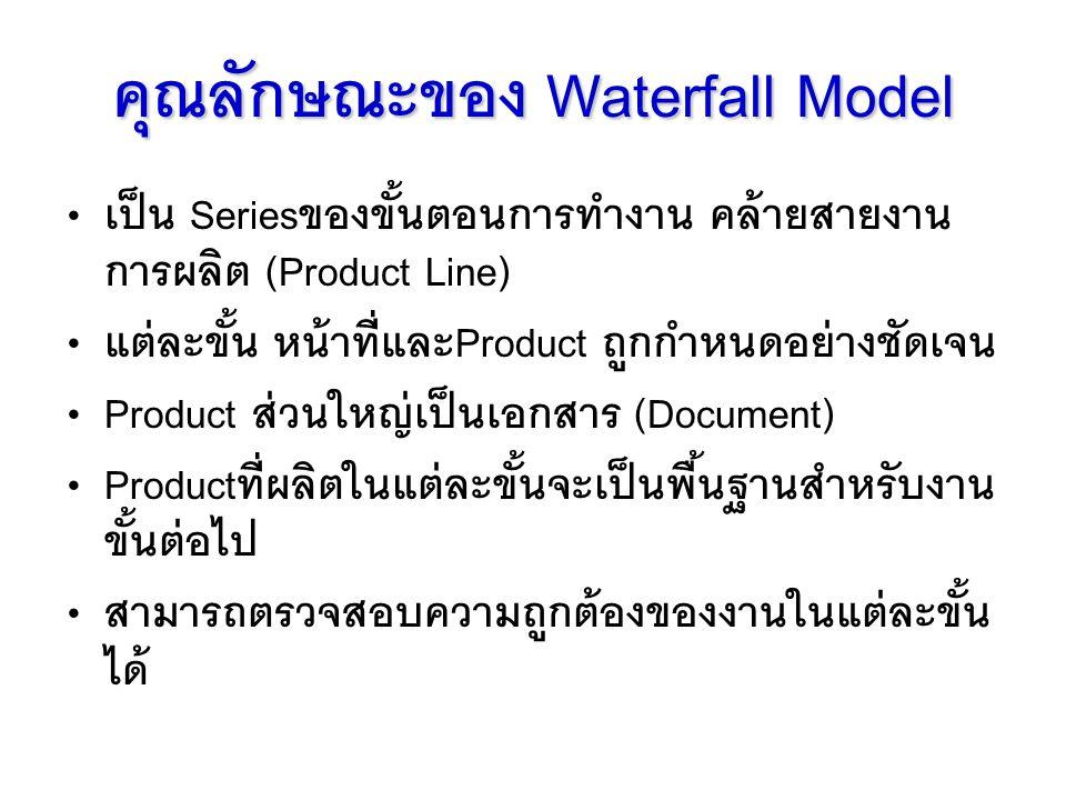 คุณลักษณะของ Waterfall Model เป็น Seriesของขั้นตอนการทำงาน คล้ายสายงาน การผลิต (Product Line) แต่ละขั้น หน้าที่และProduct ถูกกำหนดอย่างชัดเจน Product