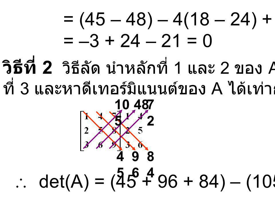 = (45 – 48) – 4(18 – 24) + 7(12 – 15) = –3 + 24 – 21 = 0 วิธีที่ 2 วิธีลัด นำหลักที่ 1 และ 2 ของ A มาเขียนต่อหลัก ที่ 3 และหาดีเทอร์มิแนนต์ของ A ได้เท่ากับวิธีข้างต้น 4545 9696 8484 10 5 487272  det(A) = (45 + 96 + 84) – (105 + 48 + 72) = 0