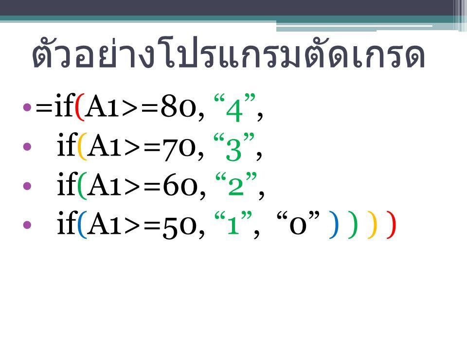 ตัวอย่างโปรแกรมตัดเกรด =if(A1>=80, 4 , if(A1>=70, 3 , if(A1>=60, 2 , if(A1>=50, 1 , 0 ) ) ) )