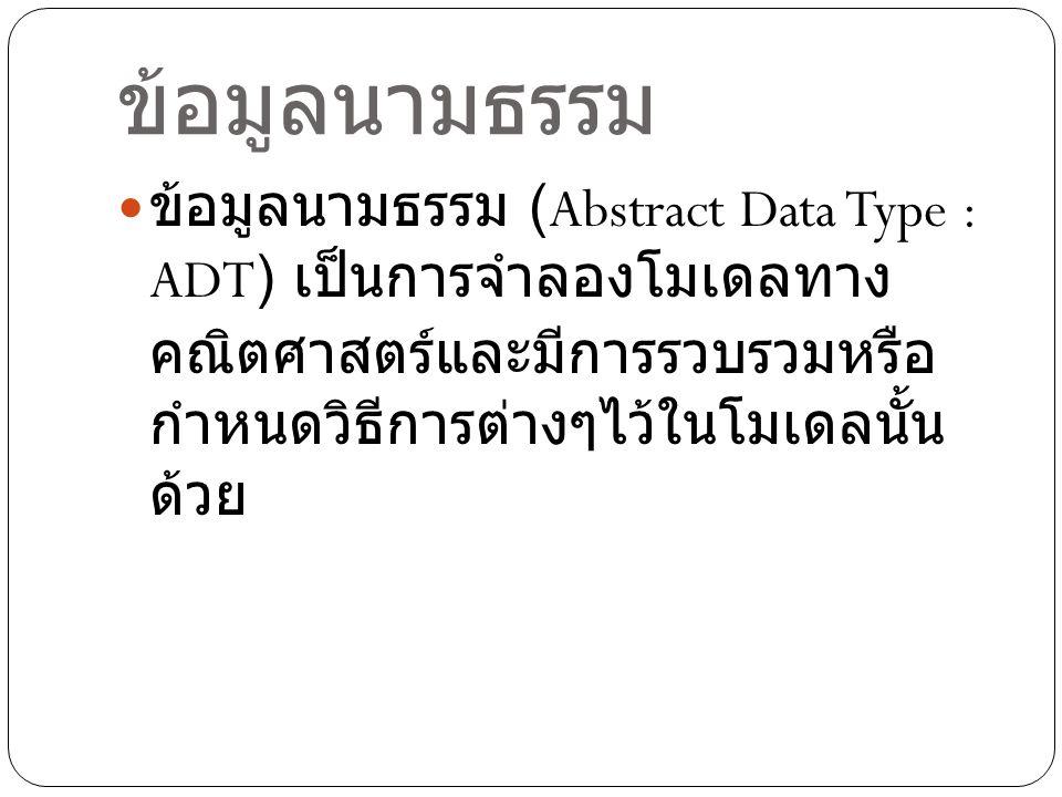 ข้อมูลนามธรรม ข้อมูลนามธรรม (Abstract Data Type : ADT) เป็นการจำลองโมเดลทาง คณิตศาสตร์และมีการรวบรวมหรือ กำหนดวิธีการต่างๆไว้ในโมเดลนั้น ด้วย