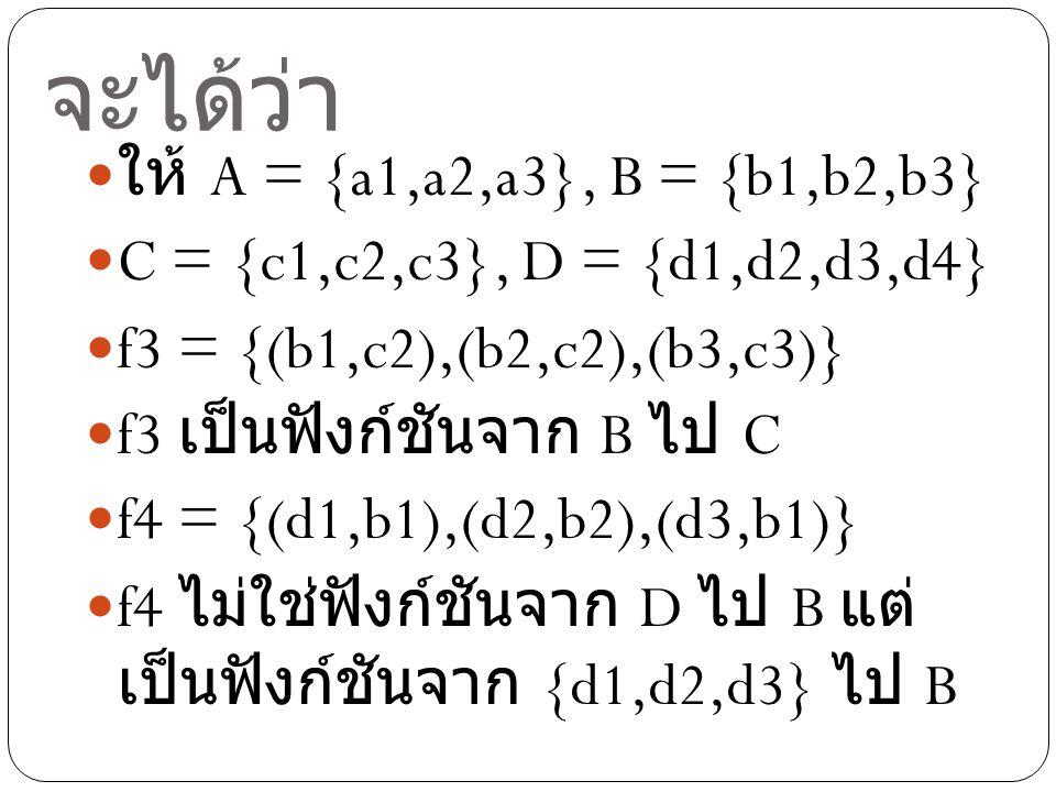 จะได้ว่า ให้ A = {a1,a2,a3}, B = {b1,b2,b3} C = {c1,c2,c3}, D = {d1,d2,d3,d4} f3 = {(b1,c2),(b2,c2),(b3,c3)} f3 เป็นฟังก์ชันจาก B ไป C f4 = {(d1,b1),(