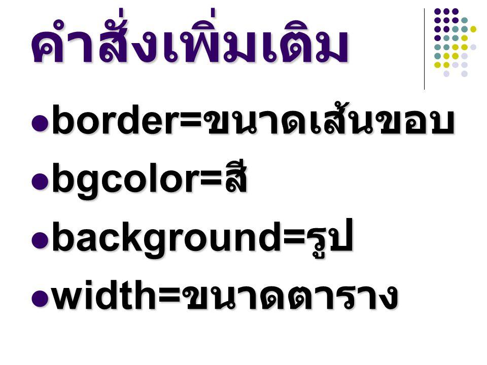 คำสั่งเพิ่มเติม border= ขนาดเส้นขอบ border= ขนาดเส้นขอบ bgcolor= สี bgcolor= สี background= รูป background= รูป width= ขนาดตาราง width= ขนาดตาราง
