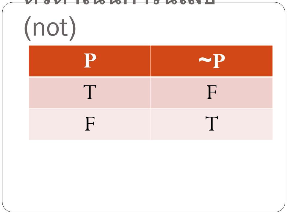 ตัวดำเนินการนิเสธ (not) P~P~P TF FT