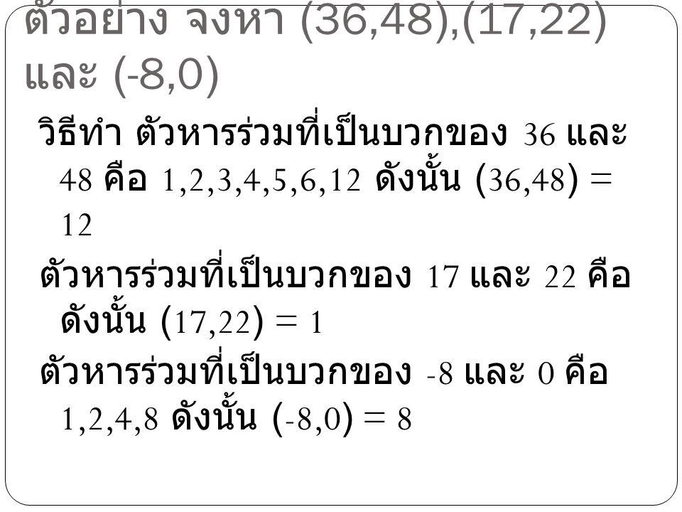 ตัวอย่าง จงหา (36,48),(17,22) และ (-8,0) วิธีทำ ตัวหารร่วมที่เป็นบวกของ 36 และ 48 คือ 1,2,3,4,5,6,12 ดังนั้น (36,48) = 12 ตัวหารร่วมที่เป็นบวกของ 17 แ