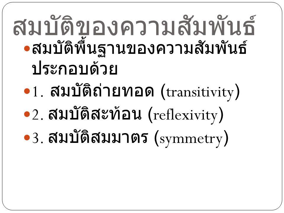 สมบัติพื้นฐานของความสัมพันธ์ ประกอบด้วย 1. สมบัติถ่ายทอด (transitivity) 2. สมบัติสะท้อน (reflexivity) 3. สมบัติสมมาตร (symmetry)