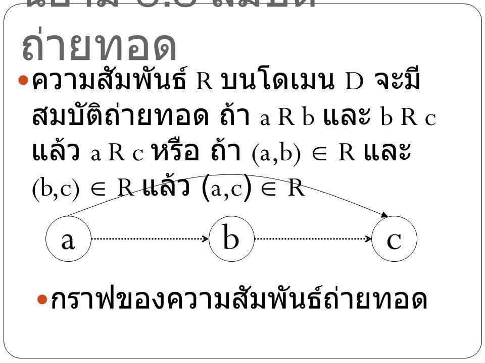 นิยาม 5.3 สมบัติ ถ่ายทอด ความสัมพันธ์ R บนโดเมน D จะมี สมบัติถ่ายทอด ถ้า a R b และ b R c แล้ว a R c หรือ ถ้า (a,b)  R และ (b,c)  R แล้ว (a,c)  R ba