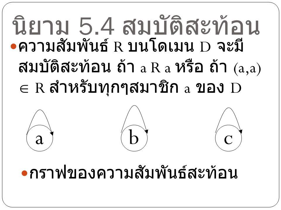 นิยาม 5.4 สมบัติสะท้อน ความสัมพันธ์ R บนโดเมน D จะมี สมบัติสะท้อน ถ้า a R a หรือ ถ้า (a,a)  R สำหรับทุกๆสมาชิก a ของ D bac กราฟของความสัมพันธ์สะท้อน