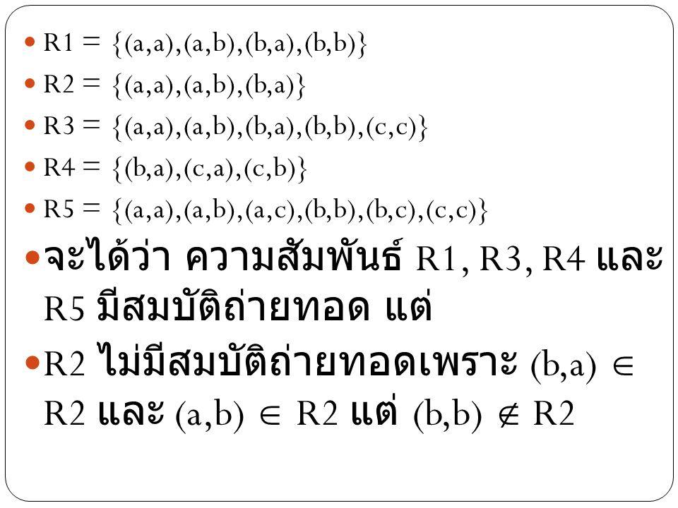 R1 = {(a,a),(a,b),(b,a),(b,b)} R2 = {(a,a),(a,b),(b,a)} R3 = {(a,a),(a,b),(b,a),(b,b),(c,c)} R4 = {(b,a),(c,a),(c,b)} R5 = {(a,a),(a,b),(a,c),(b,b),(b