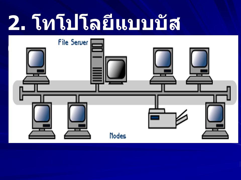 2. โทโปโลยีแบบบัส (Bus Topology)
