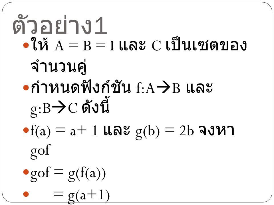 ตัวอย่าง 2 ให้ A = B = I และ C เป็นเซตของ จำนวนคู่ กำหนดฟังก์ชัน f:A  B และ g:B  C ดังนี้ f(a) = a+ 1 และ g(b) = 2b จงหา gof(3) gof(3) = g(f(3)) = g(3+1) = g(4) = 2(4) = 8