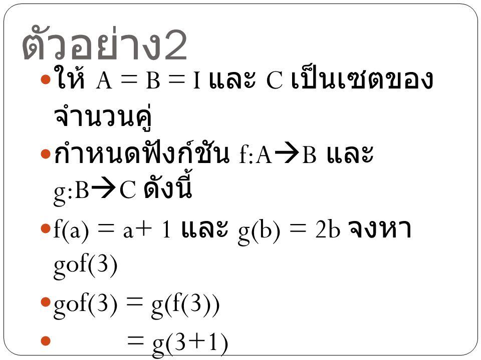 ตัวอย่าง 2 ให้ A = B = I และ C เป็นเซตของ จำนวนคู่ กำหนดฟังก์ชัน f:A  B และ g:B  C ดังนี้ f(a) = a+ 1 และ g(b) = 2b จงหา gof(3) gof(3) = g(f(3)) = g