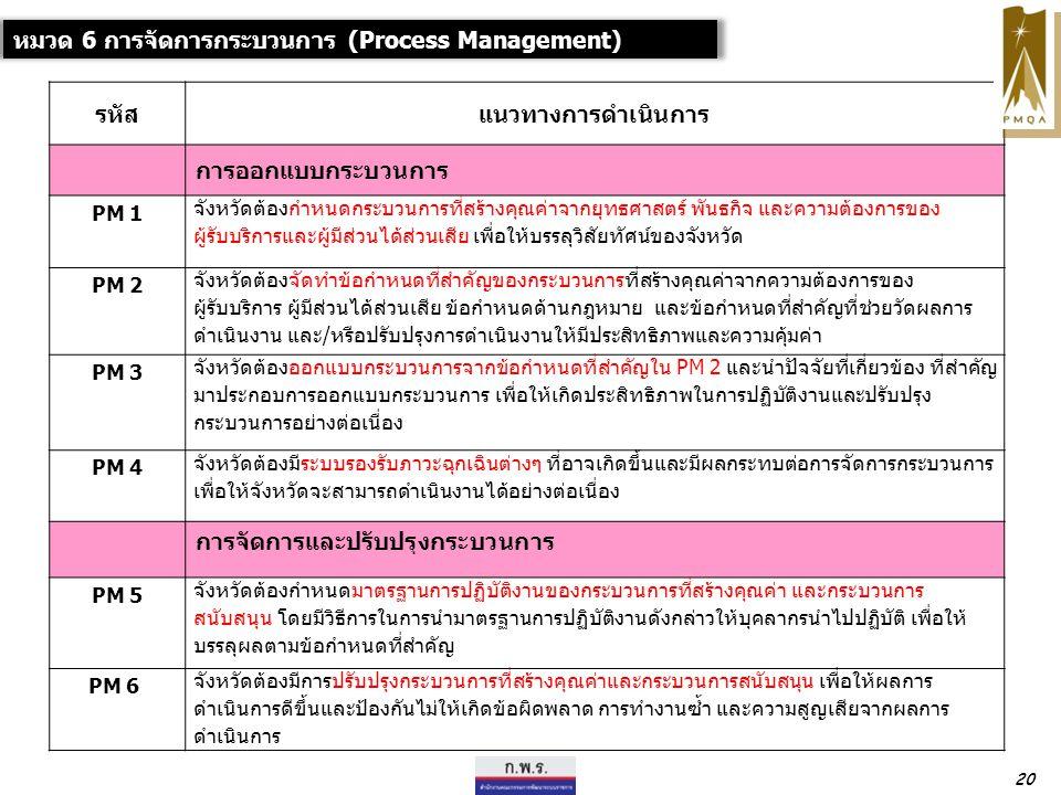 หมวด 6 การจัดการกระบวนการ (Process Management) รหัสแนวทางการดำเนินการ การออกแบบกระบวนการ PM 1 จังหวัดต้องกำหนดกระบวนการที่สร้างคุณค่าจากยุทธศาสตร์ พันธกิจ และความต้องการของ ผู้รับบริการและผู้มีส่วนได้ส่วนเสีย เพื่อให้บรรลุวิสัยทัศน์ของจังหวัด PM 2 จังหวัดต้องจัดทำข้อกำหนดที่สำคัญของกระบวนการที่สร้างคุณค่าจากความต้องการของ ผู้รับบริการ ผู้มีส่วนได้ส่วนเสีย ข้อกำหนดด้านกฎหมาย และข้อกำหนดที่สำคัญที่ช่วยวัดผลการ ดำเนินงาน และ/หรือปรับปรุงการดำเนินงานให้มีประสิทธิภาพและความคุ้มค่า PM 3 จังหวัดต้องออกแบบกระบวนการจากข้อกำหนดที่สำคัญใน PM 2 และนำปัจจัยที่เกี่ยวข้อง ที่สำคัญ มาประกอบการออกแบบกระบวนการ เพื่อให้เกิดประสิทธิภาพในการปฏิบัติงานและปรับปรุง กระบวนการอย่างต่อเนื่อง PM 4 จังหวัดต้องมีระบบรองรับภาวะฉุกเฉินต่างๆ ที่อาจเกิดขึ้นและมีผลกระทบต่อการจัดการกระบวนการ เพื่อให้จังหวัดจะสามารถดำเนินงานได้อย่างต่อเนื่อง การจัดการและปรับปรุงกระบวนการ PM 5 จังหวัดต้องกำหนดมาตรฐานการปฏิบัติงานของกระบวนการที่สร้างคุณค่า และกระบวนการ สนับสนุน โดยมีวิธีการในการนำมาตรฐานการปฏิบัติงานดังกล่าวให้บุคลากรนำไปปฏิบัติ เพื่อให้ บรรลุผลตามข้อกำหนดที่สำคัญ PM 6 จังหวัดต้องมีการปรับปรุงกระบวนการที่สร้างคุณค่าและกระบวนการสนับสนุน เพื่อให้ผลการ ดำเนินการดีขึ้นและป้องกันไม่ให้เกิดข้อผิดพลาด การทำงานซ้ำ และความสูญเสียจากผลการ ดำเนินการ 20
