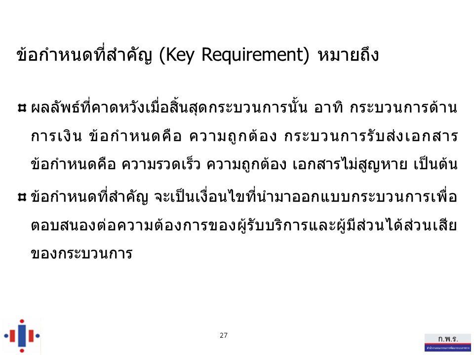 ข้อกำหนดที่สำคัญ (Key Requirement) หมายถึง ผลลัพธ์ที่คาดหวังเมื่อสิ้นสุดกระบวนการนั้น อาทิ กระบวนการด้าน การเงิน ข้อกำหนดคือ ความถูกต้อง กระบวนการรับส่งเอกสาร ข้อกำหนดคือ ความรวดเร็ว ความถูกต้อง เอกสารไม่สูญหาย เป็นต้น ข้อกำหนดที่สำคัญ จะเป็นเงื่อนไขที่นำมาออกแบบกระบวนการเพื่อ ตอบสนองต่อความต้องการของผู้รับบริการและผู้มีส่วนได้ส่วนเสีย ของกระบวนการ 27