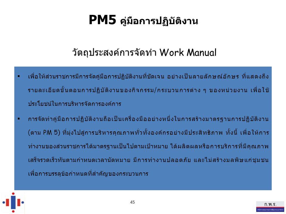 วัตถุประสงค์การจัดทำ Work Manual  เพื่อให้ส่วนราชการมีการจัดคู่มือการปฏิบัติงานที่ชัดเจน อย่างเป็นลายลักษณ์อักษร ที่แสดงถึง รายละเอียดขั้นตอนการปฏิบัติงานของกิจกรรม / กระบวนการต่าง ๆ ของหน่วยงาน เพื่อใช้ ประโยชน์ในการบริหารจัดการองค์การ  การจัดทำคู่มือการปฏิบัติงานถือเป็นเครื่องมืออย่างหนึ่งในการสร้างมาตรฐานการปฏิบัติงาน ( ตาม PM 5) ที่มุ่งไปสู่การบริหารคุณภาพทั่วทั้งองค์กรอย่างมีประสิทธิภาพ ทั้งนี้ เพื่อให้การ ทำงานของส่วนราชการได้มาตรฐานเป็นไปตามเป้าหมาย ได้ผลิตผลหรือการบริการที่มีคุณภาพ เสร็จรวดเร็วทันตามกำหนดเวลานัดหมาย มีการทำงานปลอดภัย และไม่สร้างมลพิษแก่ชุมชน เพื่อการบรรลุข้อกำหนดที่สำคัญของกระบวนการ 45 PM5 คู่มือการปฏิบัติงาน