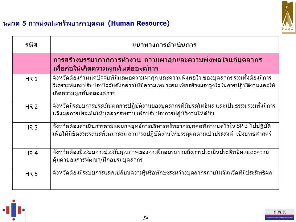 หมวด 5 การมุ่งเน้นทรัพยากรบุคคล (Human Resource) รหัสแนวทางการดำเนินการ การสร้างบรรยากาศการทำงาน ความผาสุกและความพึงพอใจแก่บุคลากร เพื่อก่อให้เกิดความผูกพันต่อองค์การ HR 1 จังหวัดต้องกำหนดปัจจัยทีมีผลต่อความผาสุก และความพึงพอใจ ของบุคลากร รวมทั้งต้องมีการ วิเคราะห์และปรับปรุงปัจจัยดังกล่าวให้มีความเหมาะสม เพื่อสร้างแรงจูงใจในการปฏิบัติงานและให้ เกิดความผูกพันต่อองค์การ HR 2 จังหวัดมีระบบการประเมินผลการปฏิบัติงานของบุคลากรที่มีประสิทธิผล และเป็นธรรม รวมทั้งมีการ แจ้งผลการประเมินให้บุคลากรทราบ เพื่อปรับปรุงการปฏิบัติงานให้ดีขึ้น HR 3 จังหวัดต้องดำเนินการตามแผนกลยุทธ์การบริหารทรัพยากรบุคคลที่กำหนดไว้ใน SP 3 ไปปฏิบัติ เพื่อให้มีขีดสมรรถนะที่เหมาะสม สามารถปฏิบัติงานให้บรรลุผลตามเป้าประสงค์ เชิงยุทธศาสตร์ HR 4 จังหวัดต้องมีระบบการประกันคุณภาพของการฝึกอบรม รวมถึงการประเมินประสิทธิผลและความ คุ้มค่าของการพัฒนา/ฝึกอบรมบุคลากร HR 5 จังหวัดต้องมีระบบการแลกเปลี่ยนความรู้หรือทักษะระหว่างบุคลากรภายในจังหวัดที่มีประสิทธิผล 54