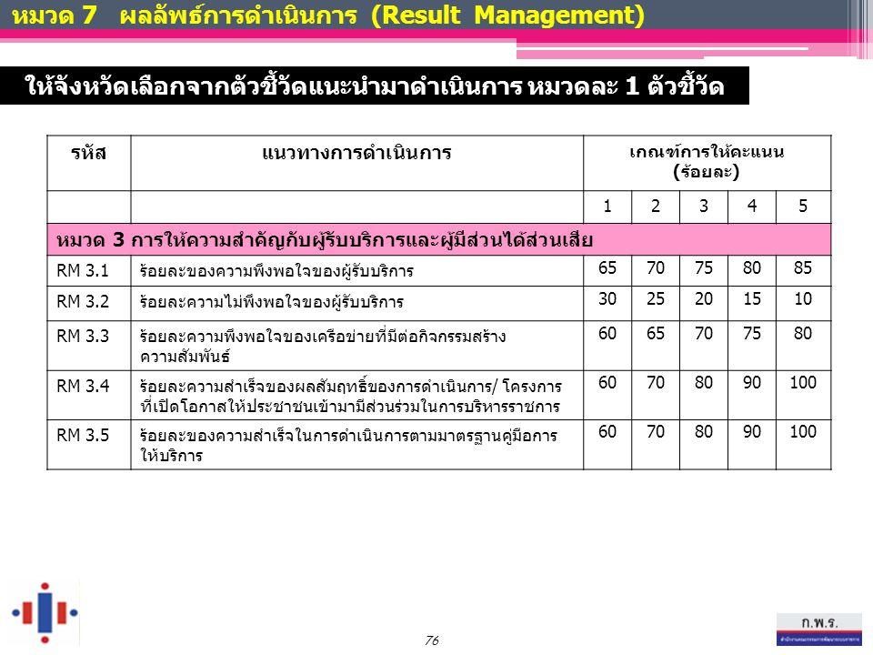 หมวด 7 ผลลัพธ์การดำเนินการ (Result Management) รหัสแนวทางการดำเนินการ เกณฑ์การให้คะแนน (ร้อยละ) 12345 หมวด 3 การให้ความสำคัญกับผู้รับบริการและผู้มีส่วนได้ส่วนเสีย RM 3.1ร้อยละของความพึงพอใจของผู้รับบริการ 6570758085 RM 3.2ร้อยละความไม่พึงพอใจของผู้รับบริการ 3025201510 RM 3.3ร้อยละความพึงพอใจของเครือข่ายที่มีต่อกิจกรรมสร้าง ความสัมพันธ์ 6065707580 RM 3.4ร้อยละความสำเร็จของผลสัมฤทธิ์ของการดำเนินการ/ โครงการ ที่เปิดโอกาสให้ประชาชนเข้ามามีส่วนร่วมในการบริหารราชการ 60708090100 RM 3.5 ร้อยละของความสำเร็จในการดำเนินการตามมาตรฐานคู่มือการ ให้บริการ 60708090100 76 ให้จังหวัดเลือกจากตัวชี้วัดแนะนำมาดำเนินการ หมวดละ 1 ตัวชี้วัด