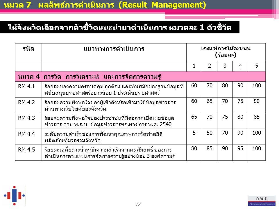 หมวด 7 ผลลัพธ์การดำเนินการ (Result Management) รหัสแนวทางการดำเนินการ เกณฑ์การให้คะแนน (ร้อยละ) 12345 หมวด 4 การวัด การวิเคราะห์ และการจัดการความรู้ RM 4.1ร้อยละของความครอบคลุม ถูกต้อง และทันสมัยของฐานข้อมูลที่ สนับสนุนยุทธศาสตร์อย่างน้อย 1 ประเด็นยุทธศาสตร์ 60708090100 RM 4.2ร้อยละความพึงพอใจของผู้เข้าถึงหรือเข้ามาใช้ข้อมูลข่าวสาร ผ่านทางเว็บไซต์ของจังหวัด 6065707580 RM 4.3ร้อยละความพึงพอใจของประชาชนที่มีต่อการ เปิดเผยข้อมูล ข่าวสาร ตาม พ.ร.บ.