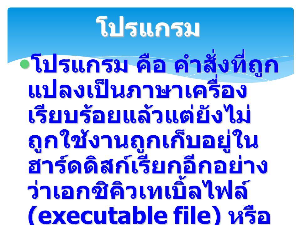 โปรแกรม คือ คำสั่งที่ถูก แปลงเป็นภาษาเครื่อง เรียบร้อยแล้วแต่ยังไม่ ถูกใช้งานถูกเก็บอยู่ใน ฮาร์ดดิสก์เรียกอีกอย่าง ว่าเอกซิคิวเทเบิ้ลไฟล์ (executable
