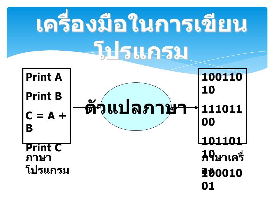 Print A Print B C = A + B Print C ตัวแปลภาษา 100110 10 111011 00 101101 10 100010 01 ภาษา โปรแกรม ภาษาเครื่ อง