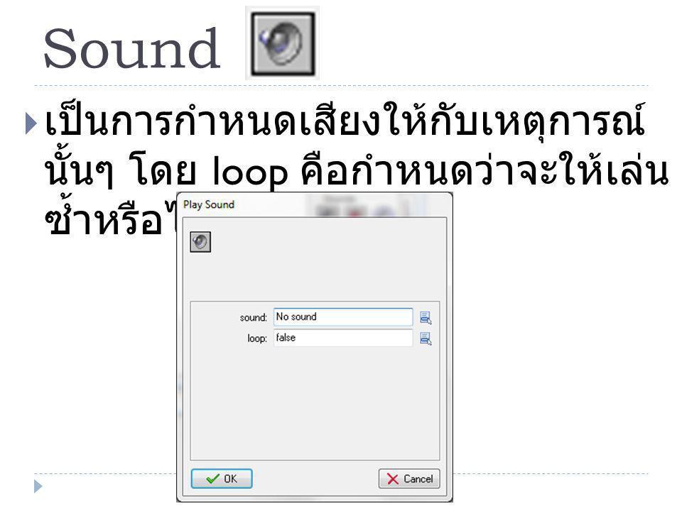 Sound  เป็นการกำหนดเสียงให้กับเหตุการณ์ นั้นๆ โดย loop คือกำหนดว่าจะให้เล่น ซ้ำหรือไม่