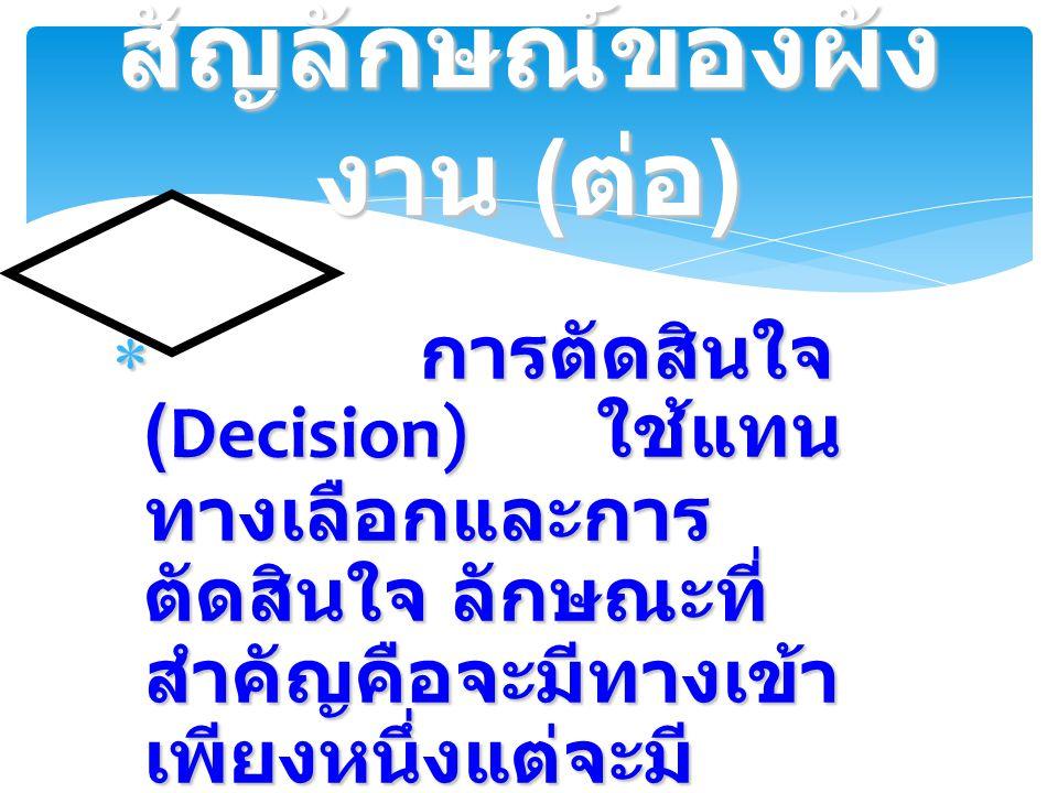  การตัดสินใจ (Decision) ใช้แทน ทางเลือกและการ ตัดสินใจ ลักษณะที่ สำคัญคือจะมีทางเข้า เพียงหนึ่งแต่จะมี ทางออก 2 ทาง สัญลักษณ์ของผัง งาน ( ต่อ )