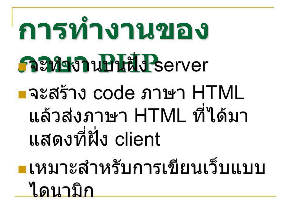 การทำงานของ ภาษา PHP จะทำงานบนฝั่ง server จะสร้าง code ภาษา HTML แล้วส่งภาษา HTML ที่ได้มา แสดงที่ฝั่ง client เหมาะสำหรับการเขียนเว็บแบบ ไดนามิก