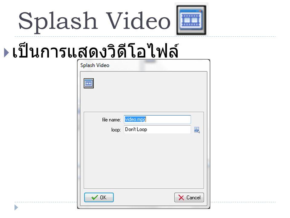 Splash Video  เป็นการแสดงวิดีโอไฟล์