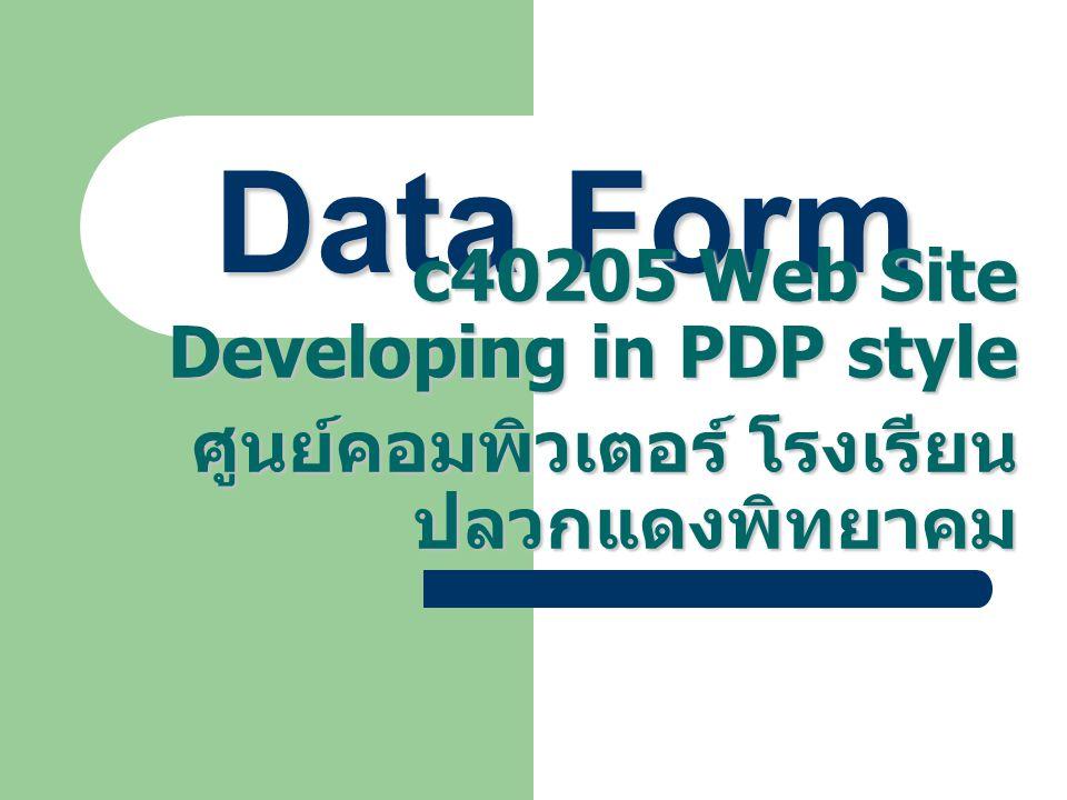 Data Form c40205 Web Site Developing in PDP style ศูนย์คอมพิวเตอร์ โรงเรียน ปลวกแดงพิทยาคม