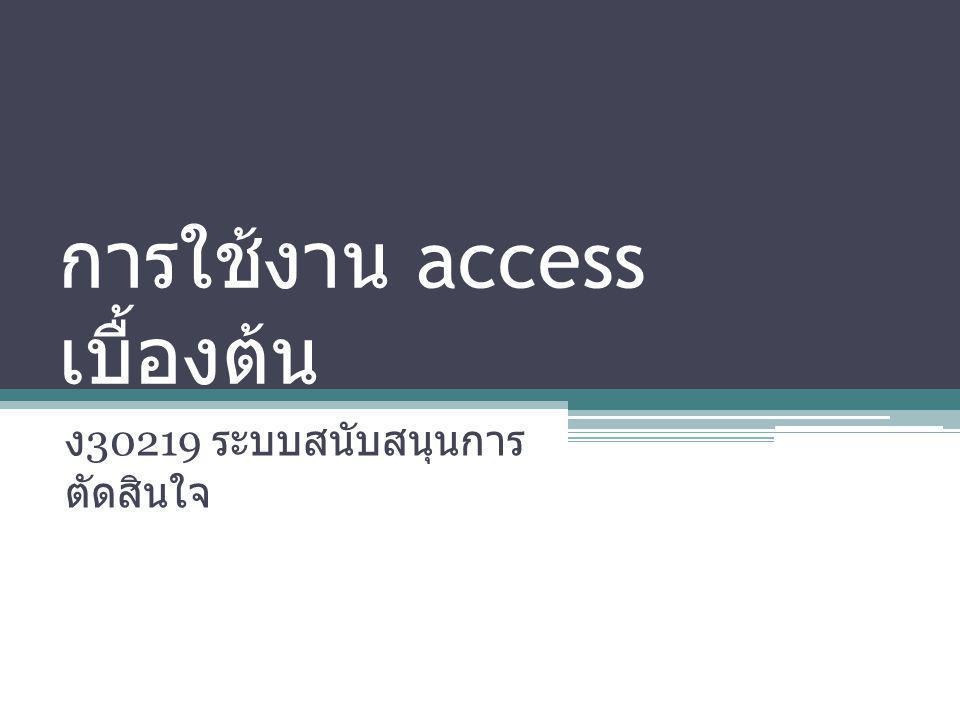 การใช้งาน access เบื้องต้น ง 30219 ระบบสนับสนุนการ ตัดสินใจ