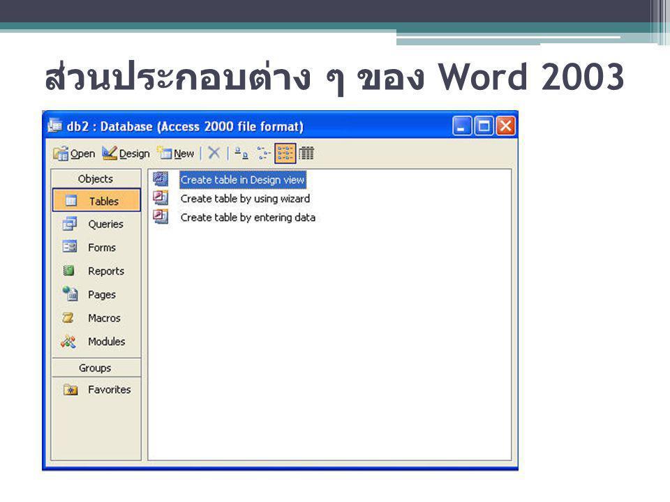 ออปเจ็กต่าง ๆ ใน Access 2003 Table : เป้นส่วนสำคัญที่สุดในโปรแกรม เนื่องจากมี หน้าที่จะต้องเก้บข้อมูลทั้งหมดไว้ที่ Table Query : ใช้สำหรับสร้างเงื่อนไขเพื่อให้แสดงข้อมูลเฉพาะ ส่วนที่ต้องการ Form : สร้างขึ้นมาเพื่อเป็นสื่อกลางระหว่างโปรแกรมกับ ผู้ใช้งาน (User Interface) เพื่อให้ทำงานสะดวกขึ้น Report : แสดงรายงานออกทางเครื่องพิมพ์ Macro : เพื่อช่วยลดขั้นตอนการทำงานที่ยาวหรือการ ทำงานที่ซ้ำ ๆ กันให้สั้นลง Module : เป็นการเขียนโปรแกรมภายในโปรแกรม Access เพื่อให้งานที่สร้างนั้นมีประสิทธิภาพในการใช้งานมากยิ่งขึ้น