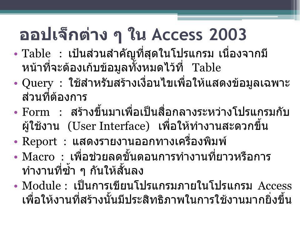ออปเจ็กต่าง ๆ ใน Access 2003 Table : เป้นส่วนสำคัญที่สุดในโปรแกรม เนื่องจากมี หน้าที่จะต้องเก้บข้อมูลทั้งหมดไว้ที่ Table Query : ใช้สำหรับสร้างเงื่อนไ