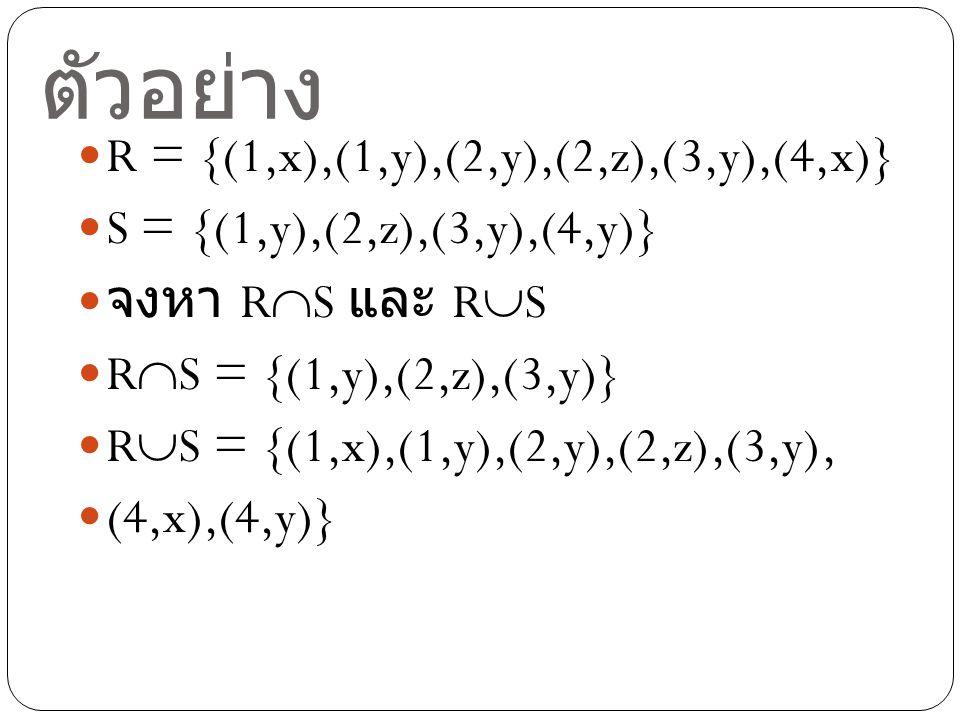 ตัวอย่าง R = {(1,x),(1,y),(2,y),(2,z),(3,y),(4,x)} S = {(1,y),(2,z),(3,y),(4,y)} จงหา R  S และ R  S R  S = {(1,y),(2,z),(3,y)} R  S = {(1,x),(1,y)