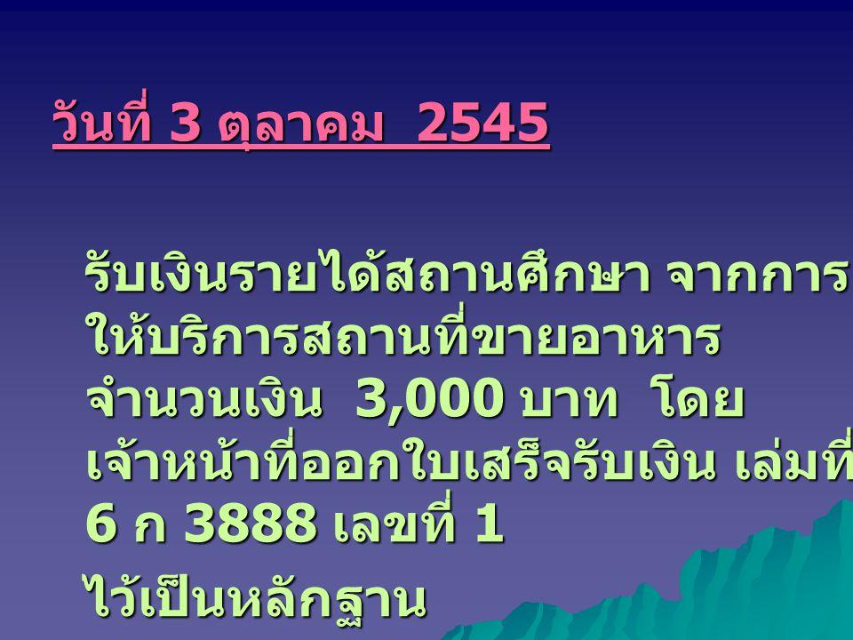 วันที่ 3 ตุลาคม 2545 รับเงินรายได้สถานศึกษา จากการ ให้บริการสถานที่ขายอาหาร จำนวนเงิน 3,000 บาท โดย เจ้าหน้าที่ออกใบเสร็จรับเงิน เล่มที่ 6 ก 3888 เลขที่ 1 ไว้เป็นหลักฐาน ไว้เป็นหลักฐาน