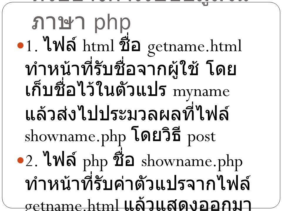 ตัวอย่างการรับข้อมูลใน ภาษา php 1. ไฟล์ html ชื่อ getname.html ทำหน้าที่รับชื่อจากผู้ใช้ โดย เก็บชื่อไว้ในตัวแปร myname แล้วส่งไปประมวลผลที่ไฟล์ shown
