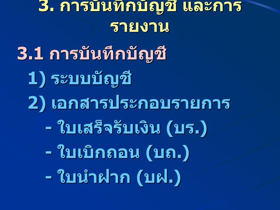 3. การบันทึกบัญชี และการ รายงาน 3.1 การบันทึกบัญชี 1) ระบบบัญชี 2) เอกสารประกอบรายการ - ใบเสร็จรับเงิน ( บร.) - ใบเสร็จรับเงิน ( บร.) - ใบเบิกถอน ( บถ