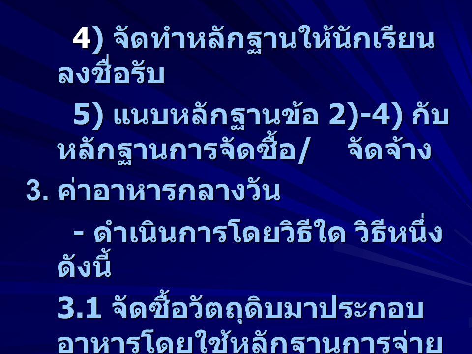 4) จัดทำหลักฐานให้นักเรียน ลงชื่อรับ 5) แนบหลักฐานข้อ 2)-4) กับ หลักฐานการจัดซื้อ / จัดจ้าง 3. ค่าอาหารกลางวัน - ดำเนินการโดยวิธีใด วิธีหนึ่ง ดังนี้ 3